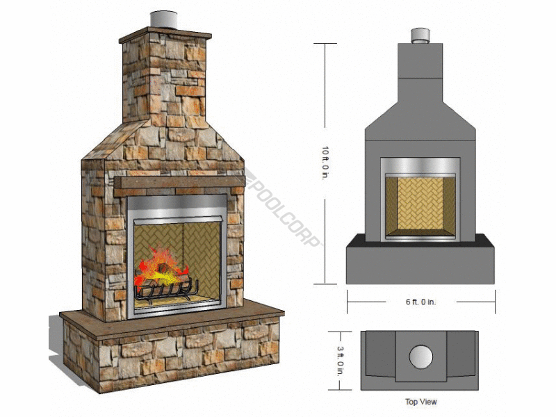 Pool360 10 Tall X6 Wide 42 Outdoor Fireplace Kit