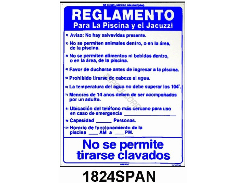 Pool360 18x24 Cpr Instructions Spanish Sign