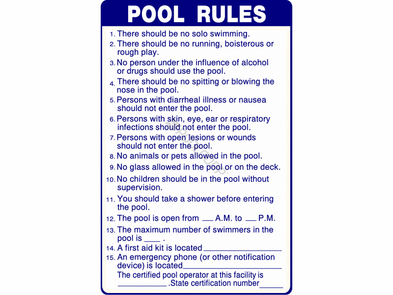 Pool360 24 Quot X36 Quot Sign Pool Rules Sc Approved